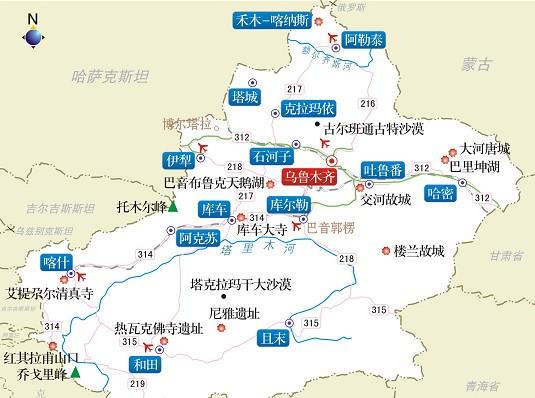 新疆旅游指南 新疆旅游地图