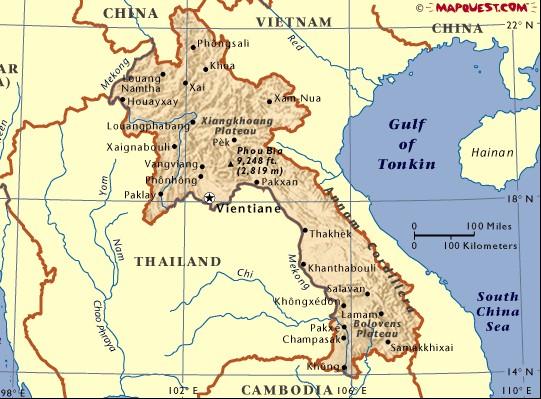 老挝旅游地图